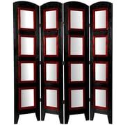 Oriental Furniture 67'' x 49'' Photo Display Shoji 4 Panel Room Divider; Black