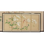 Oriental Furniture 18'' x 36'' Love Birds 4 Panel Room Divider