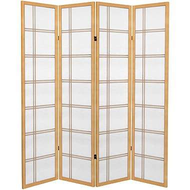 Oriental Furniture 71'' x 63'' Double Cross 4 Panel Room Divider; Natural