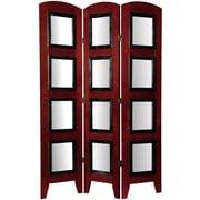 Oriental Furniture 67'' x 37'' Photo Display Shoji 3 Panel Room Divider; Rosewood