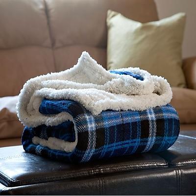 Lavish Home Fleece Sherpa Blanket Throw, Blue