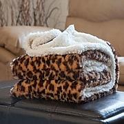 Trademark Global® Lavish Home Fleece/Sherpa Animal Pattern Throw Blanket, Leopard