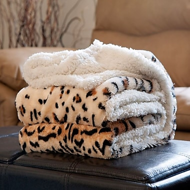 Lavish Home Fleece/Sherpa Animal Pattern Throw Blanket, Tiger