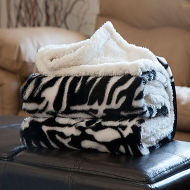 Lavish Home Fleece/Sherpa Animal Pattern Throw Blanket, Zebra