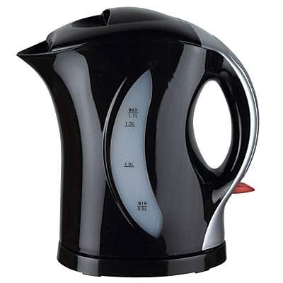 Brentwood® 1.7 Litre Cordless Plastic Tea Kettle With Silver Handle, Black