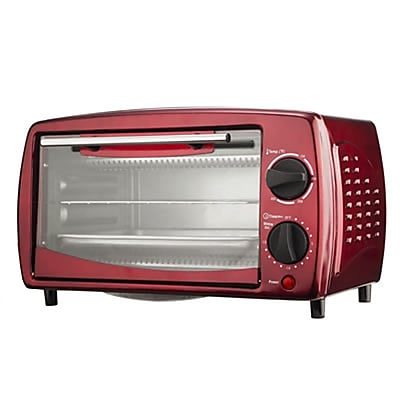 Brentwood 700 W Four Slice Toaster Oven; Red
