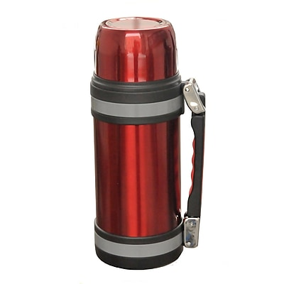 Brentwood 1 Liter Stainless Steel Vacuum Bottle With Handle, Red