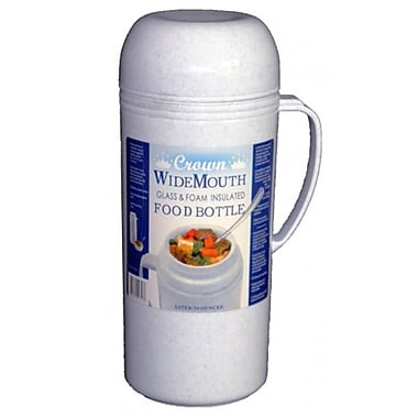 Brentwood 1 Liter Wide Mouth Glass Vacuum Food Thermo, Gray