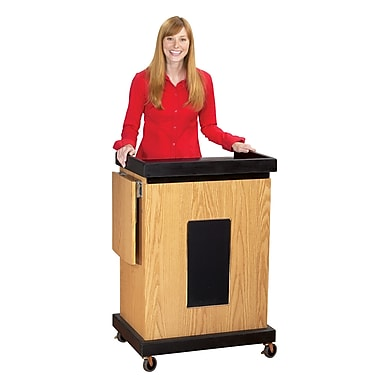 Oklahoma Sound® Smart Cart Audio Visual Lectern With Sound, Medium Oak