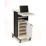 Oklahoma Sound® Premium Plus Presentation Cart with Storage Cabinet, Black/Wood Grain (PRC250)