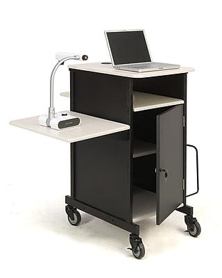 Oklahoma Sound® Steel Jumbo Plus Audio Visual Presentation Cart, Black/Wood Grain (PRC450)