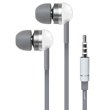 i.Sound EM-130 Earbuds with Microphone and Carrying Case, White/Grey