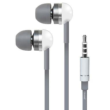 i.Sound – Écouteurs EM-130 avec microphone et étuis de transport, blanc et gris