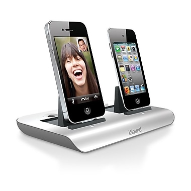 i.Sound ISOUND-5201 Dual Power View Display/Charging Dock for iPhone® and iPod®, White