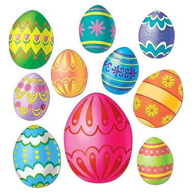 Easter Egg Colourful Cutouts, Assorted Sizes, 40/Pack