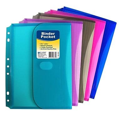 C-line® Mini Side Loading Binder Pocket, Assorted, 24/Pack