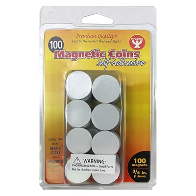 Hygloss™ Self Adhesive Magnetic Coins, 100/Pack (HYG61400)