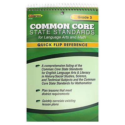 Edupress® Common Core Standards F/Language Arts & Math Quick Flip Reference, Grade 3