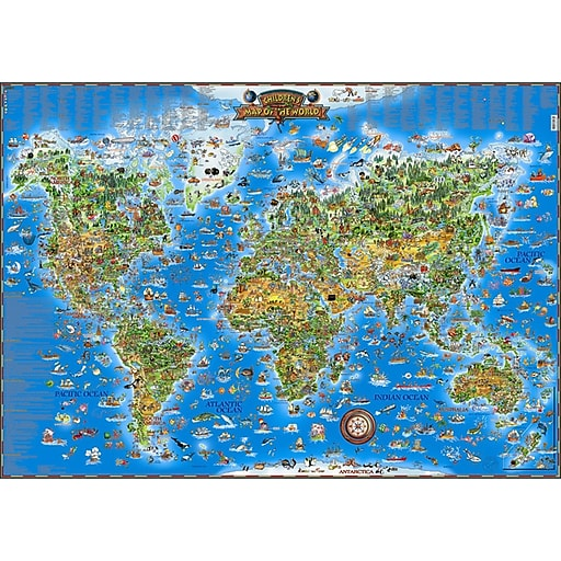 "Round World Products Illustrated Laminated Childrens World Map, 38"" x 54"""