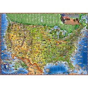 "Round World Products Illustrated Laminated United States Of America Map, 38"" x 54"""
