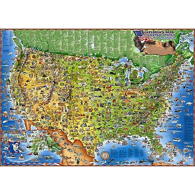 Round World Products Illustrated Laminated United States Of America Map, 38