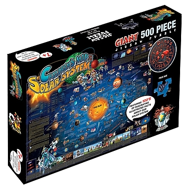 Round World Products Dinos Children's Illustrated Jigsaw Puzzle, Solar System Map (RWPDP003)