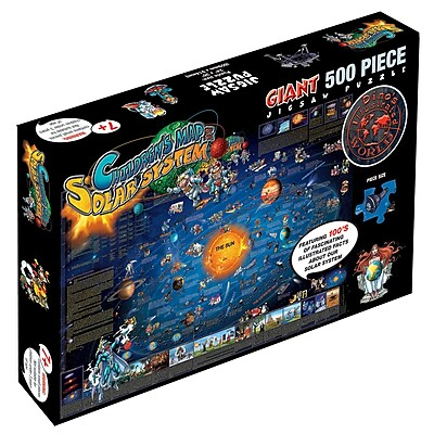 Round World Products Dinos Childrens Illustrated Jigsaw Puzzle, Solar System Map