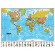 "Round World Products Laminated World Map, 38"" x 51.25"""