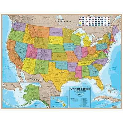 Round World Products United States Laminated Map Staples