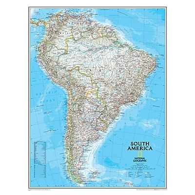 National Geographic Maps South America Wall Map, 24
