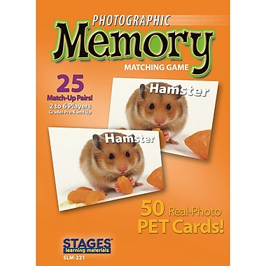 Stages Learning Materials Pets Photographic Memory Matching Card Game, Grade PreK - 3 (SLM221)