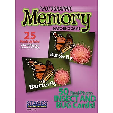 Stages Learning Materials Insects And Bugs Photographic Memory Matching Card Game, Grade PreK - 3 (SLM223)