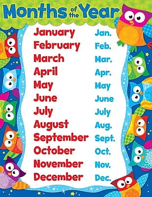 TREND Enterprises T-38448 Months of the Year Owl Stars Learning Chart