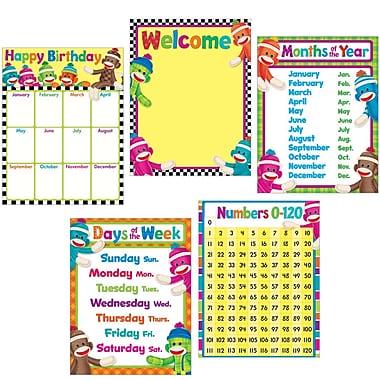 Trend Enterprises® Classroom Basics Sock Monkeys Learning Chart Combo Pack