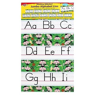 Trend Enterprises® Monkey Mischief Jumbo Alphabet Line Zaner-Bloser Bulletin Board Set, 12/Pack