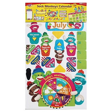 Trend Enterprises Calendar Bulletin Board Set, Sock Monkeys (T-8416)