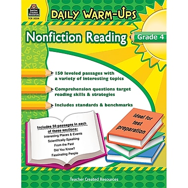Teacher Created Resources Daily Warm-Ups Nonfiction Reading Activity Book, Grade 4