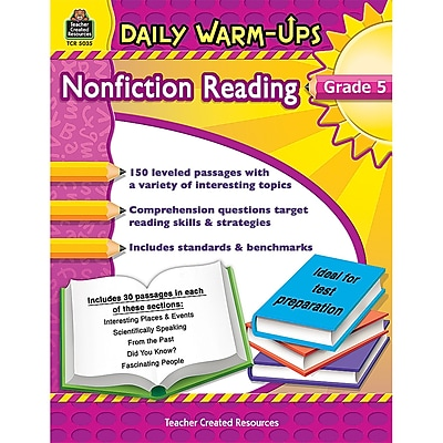 Teacher Created Resources Daily Warm-Ups Nonfiction Reading Activity Book, Grade 5