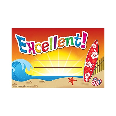 Teacher Created Resources Surf's Up Excellent Award, 25/Pack