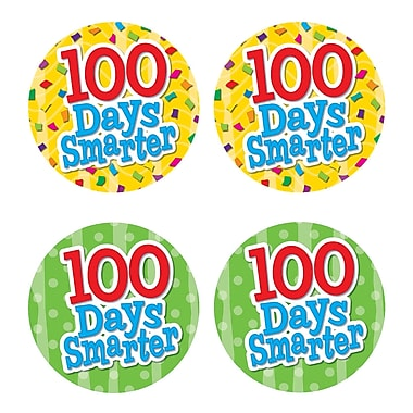Teacher Created Resources 100 Days Smarter Wear'Em Badge, 32/Pack (TCR5393)