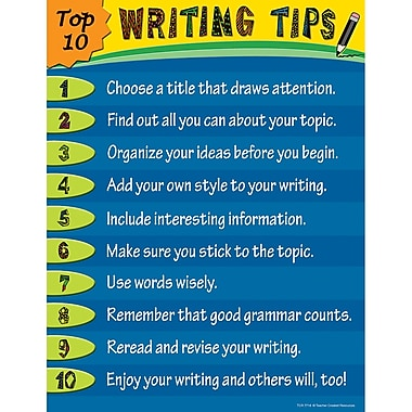 Teacher Created Resources Top 10 Writing Tips Chart, Language Arts