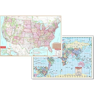 Kappa May Group/Universal Maps US & World Advanced Physical Laminated Rolled Map Combo, 48