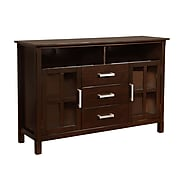Simpli Home Kitchener Wooden TV Stand; Dark Walnut Brown