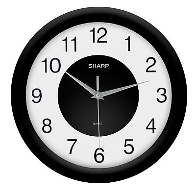 MZ Berger SPC959 Plastic Analog Wall Clock, Black