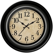 "MZB WAC904 12"" Waltham Round Deep Dish Wall Clock With Silver Trim, Black"