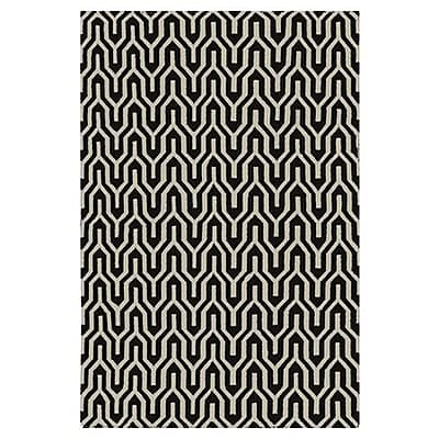 Jill Rosenwald Rugs Fallon Caviar Hand-Woven Black Area Rug; Rectangle 3'6'' x 5'6''