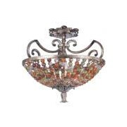 Kalco Chesapeake 3-Light Semi Flush Mount; Antique Silver Leaf