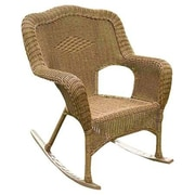 International Caravan Chelsea Outdoor Wicker Resin Patio Rocking Chair; Antique Pecan