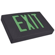 Morris Products LED Exit Sign in Green LED and Black Housing w/ Battery Backup