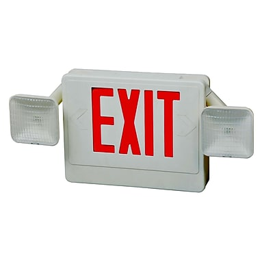 Morris Products Combo Remote Capable LED and Exit / Emergency Light in Red LED and White Housing